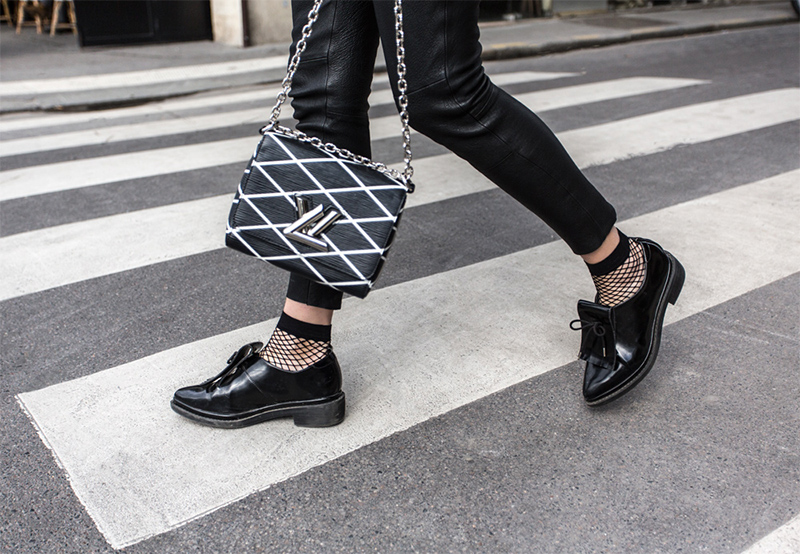 Fishnet Tights - Trend alert! Worn with Louis Vuitton Twist Malletage PM Bag