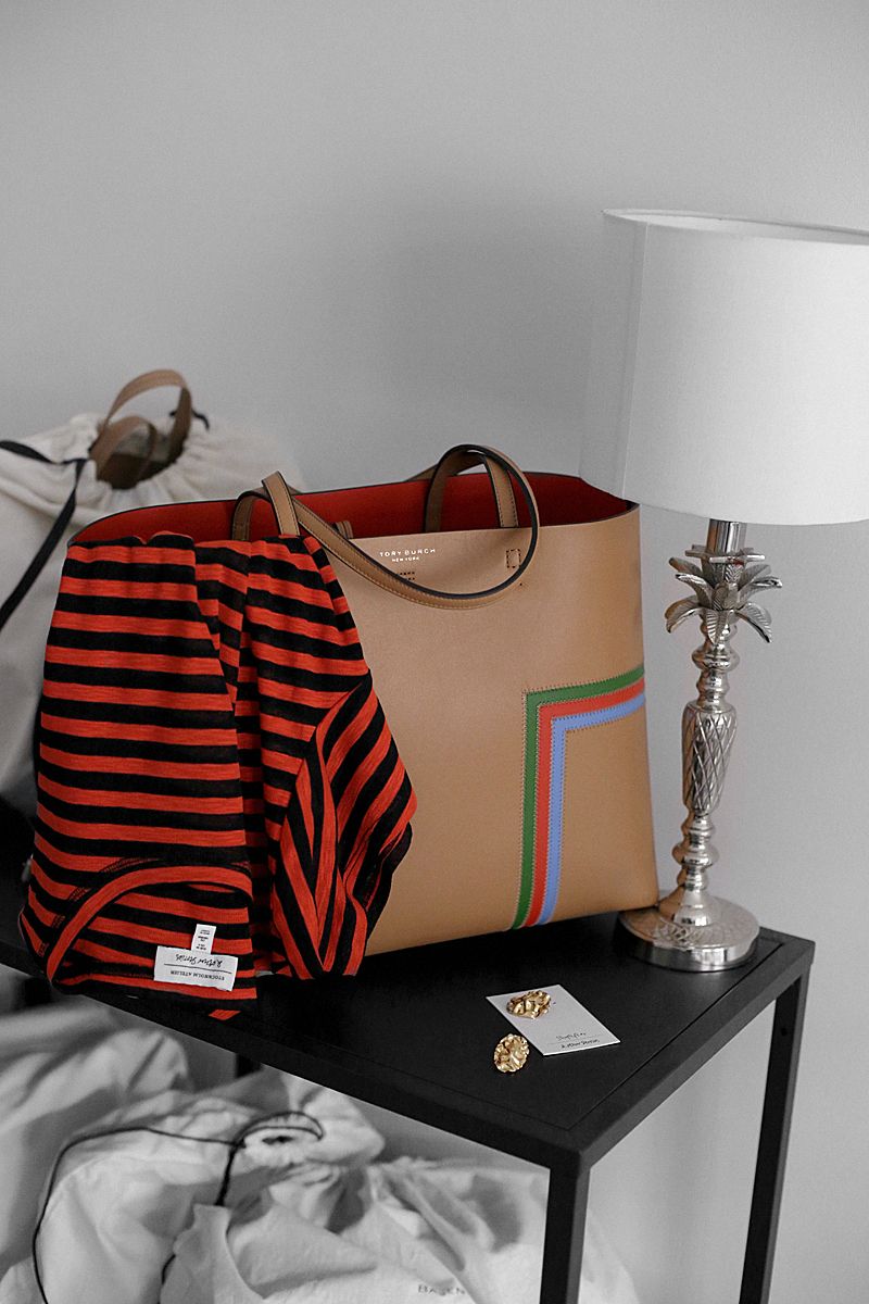 New things for spring: Tory Burch shopper, striped t-shirt, statement earrings