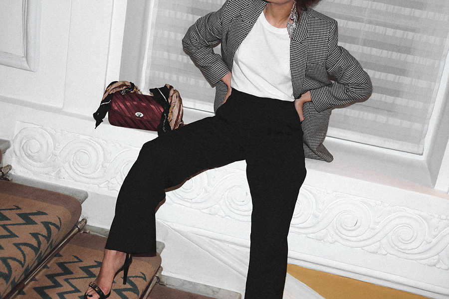 Outfit: A Night Out in London. Rhinestone Earrings, Hourglass blazer, Balenciaga Lock Round S Bag, Wide trousers, Proenza Schouler Sandals, White t-shirt