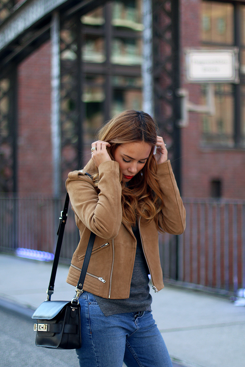 outfit the suede leather jacket