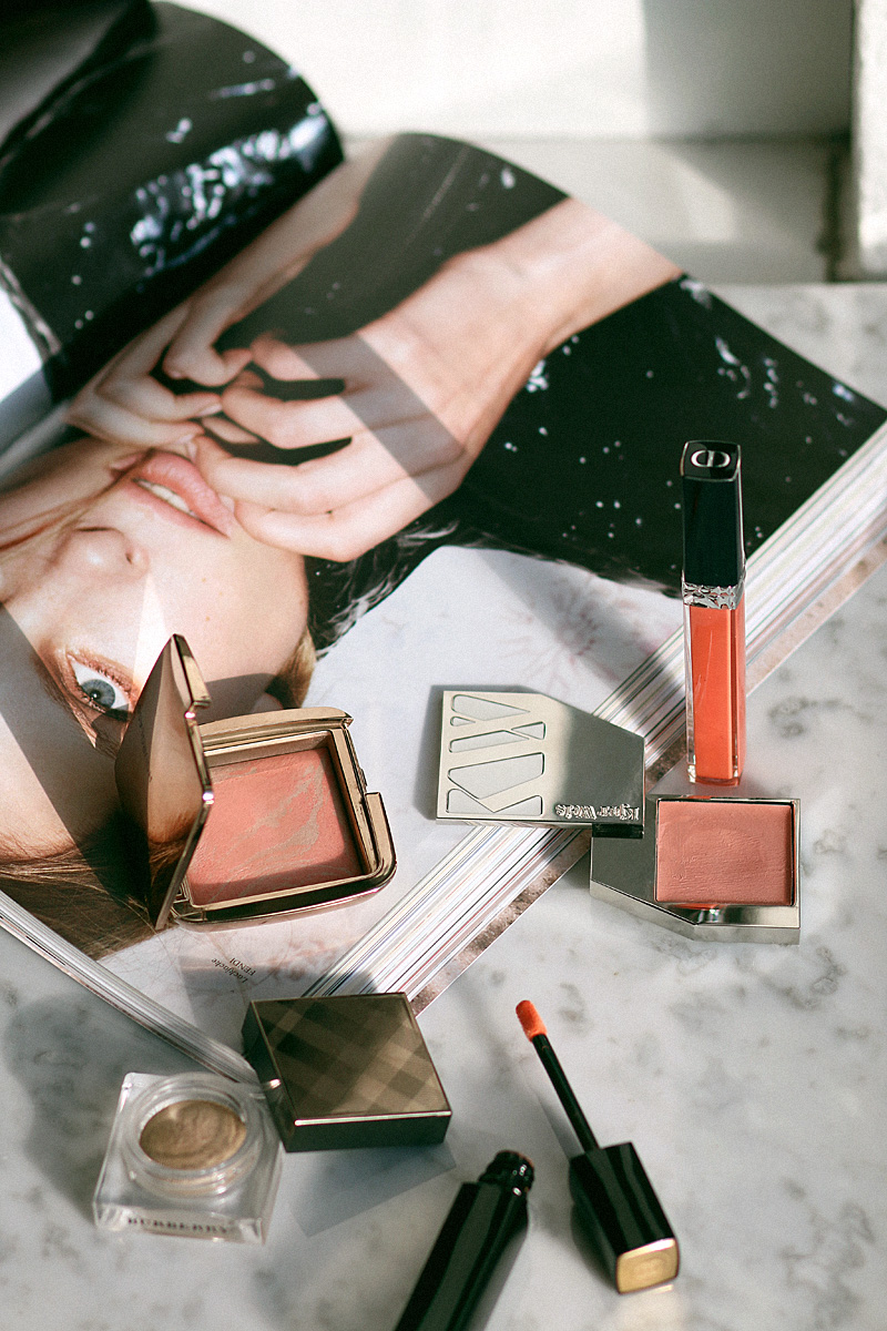 Shopping your stash. Fresh colors for spring. Hourglass Ambient Lighting Blush, Kjaer Weis Cream Blush, Chanel Rouge Allure Extrait de Gloss, Dior Rouge Dior Brillant, Burberry Eye Colour Cream