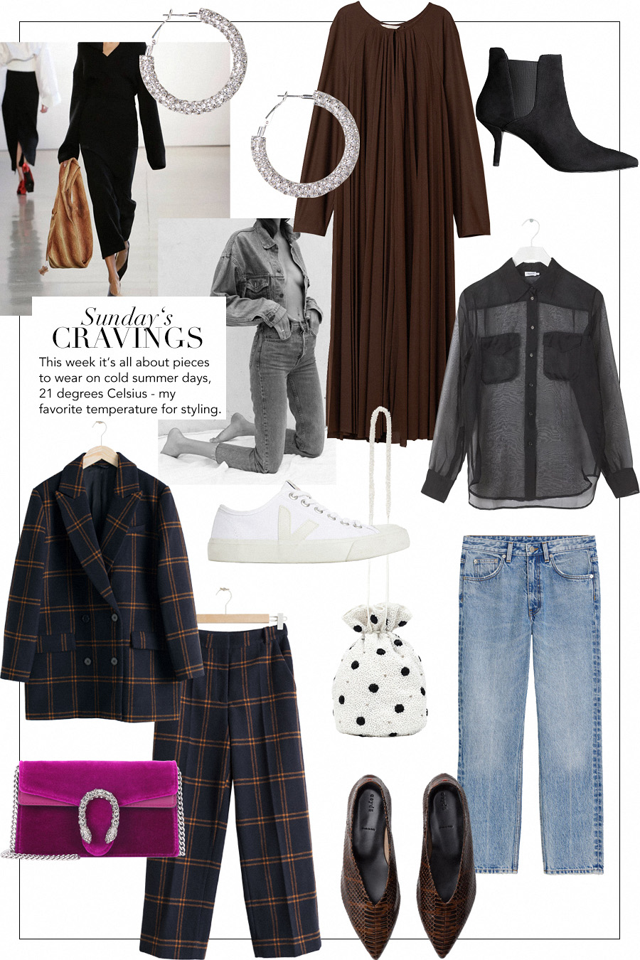 Sunday's Cravings: Gucci Dionysus velvet clutch, Aeyde ballerina flats, Ganni Beaded bucket bag, Rhinestone earrings, Plissé maxi dress, Pointed stiletto ankle boots, See-through shirt, Veja Wata sneakers, Oversized double breasted blazer, Cropped wool blend trousers, Cropped vintage style jeans