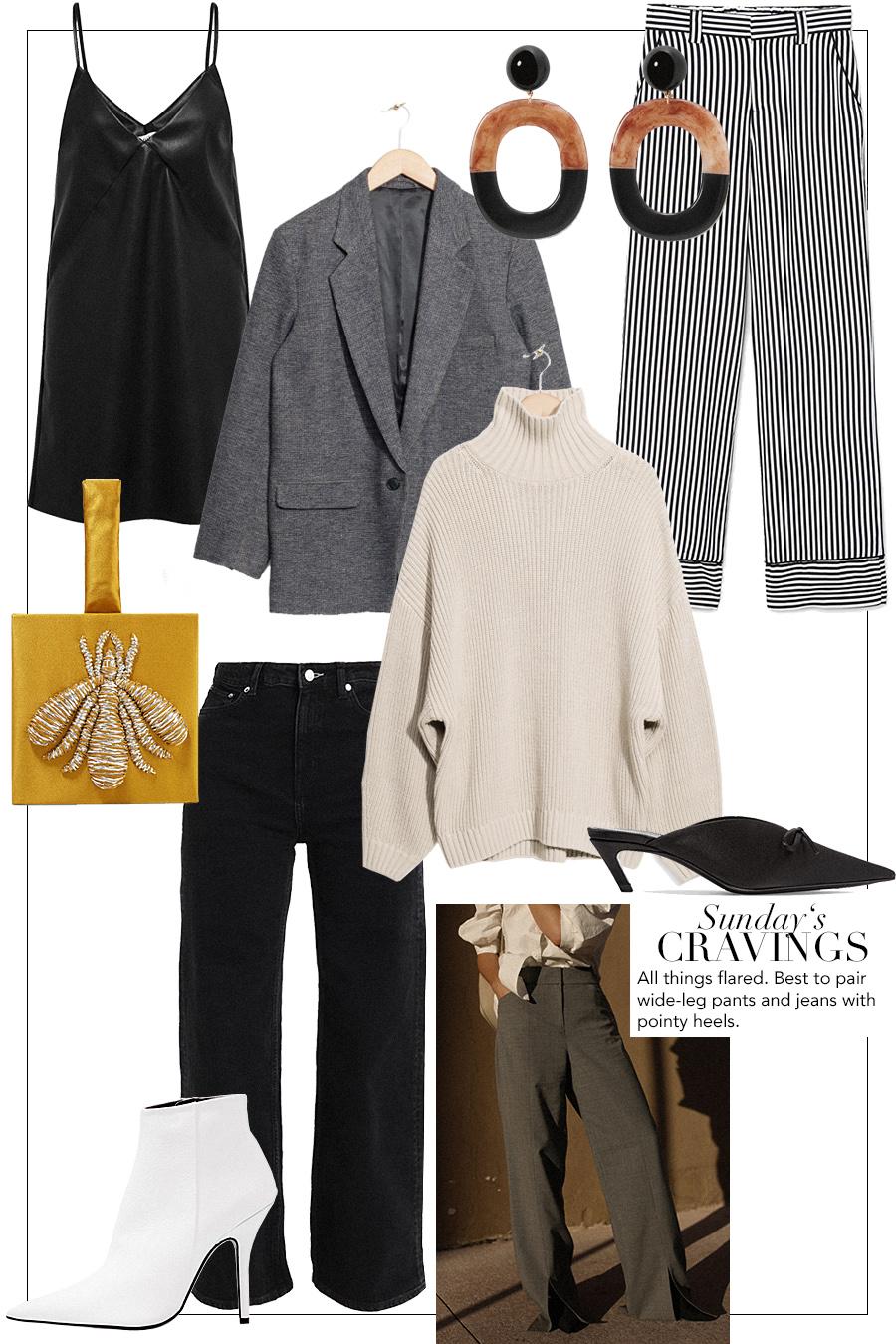 Blazer, Leather dress, Earrings, Satin clutch, Striped pants, Flared jeans, Knit, Prada Bag, White boots.