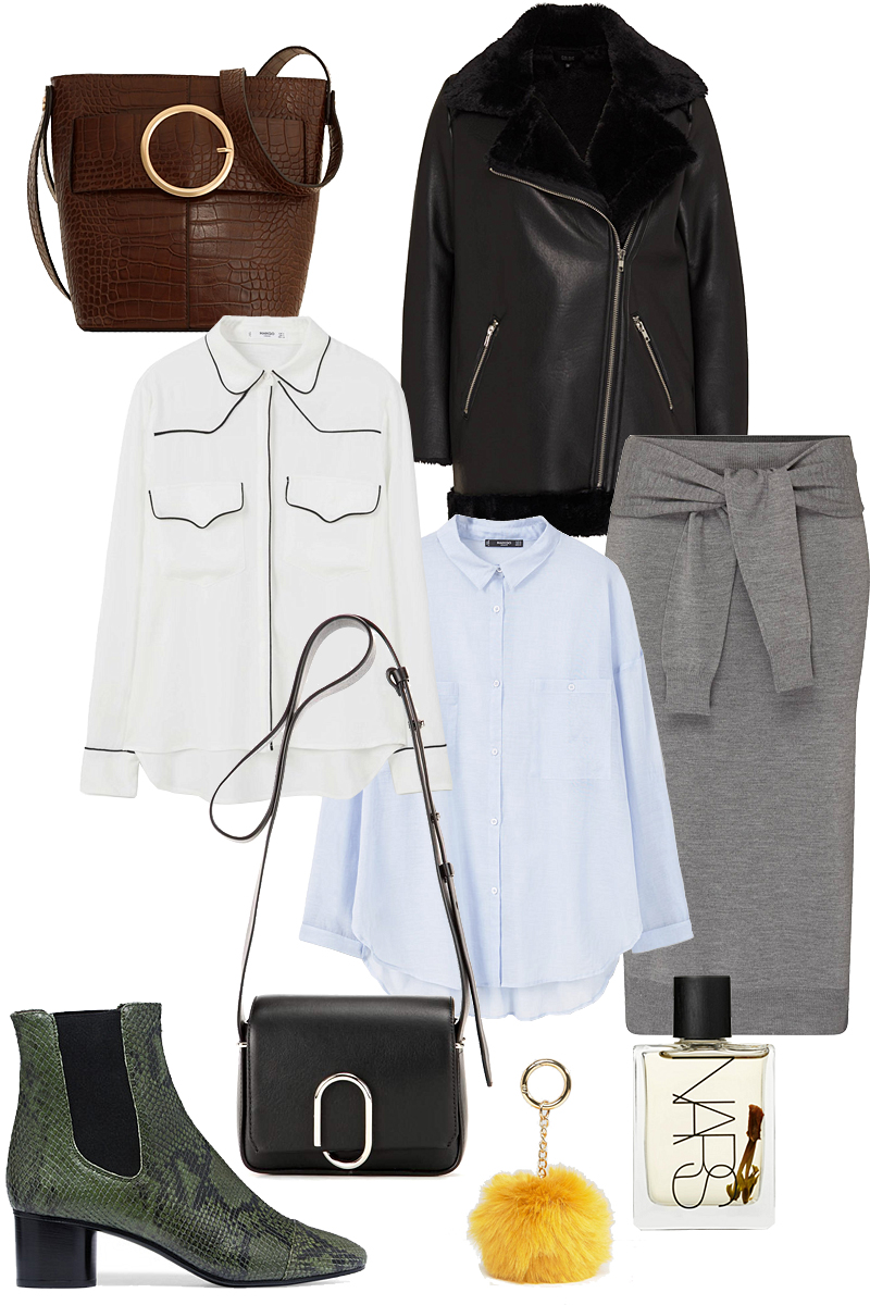 Sunday's Cravings: Autumnal. Bucket bag, Aviator Jacket, Wool knit skirt, White blouse, 3.1 Phillip Lim Alix Flap Mini leather shoulder bag, Blue shirt, Isabel Marant Danae ankle boots, Pom bag charm key ring, Nars Body Oil