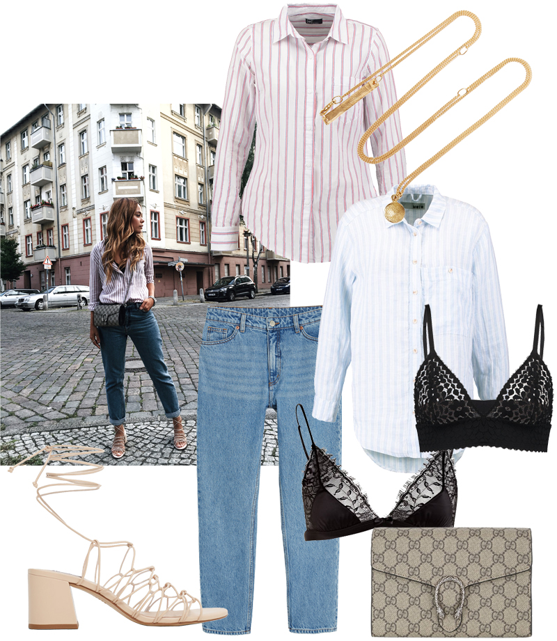 Gucci Bag Dionysus GG Supreme Mini, tie-up sandals, Red striped button down shirt, Blue striped button down shirt, Necklace with pendant, Mom jeans, Lace Bra - Sunday's Cravings: Birthday Girl