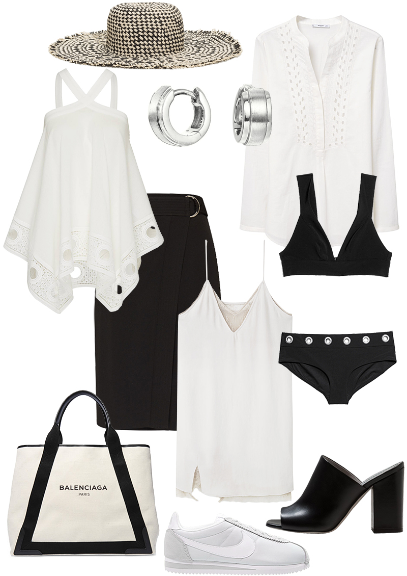 Sunday's Cravings: Black & White Summer. Straw Hat - & Other Stories, Top - EDITED the Label, Earrrings - Esprit, Blouse - Mango, Wrap skirt - EDITED the Label, Slip dress - Mango, Bikini top - & Other Stories, Bikini bottom - & Other Stories, Cabas tote bag - Balenciaga, Mules - Aeyde, Cortez Sneaker - Nike