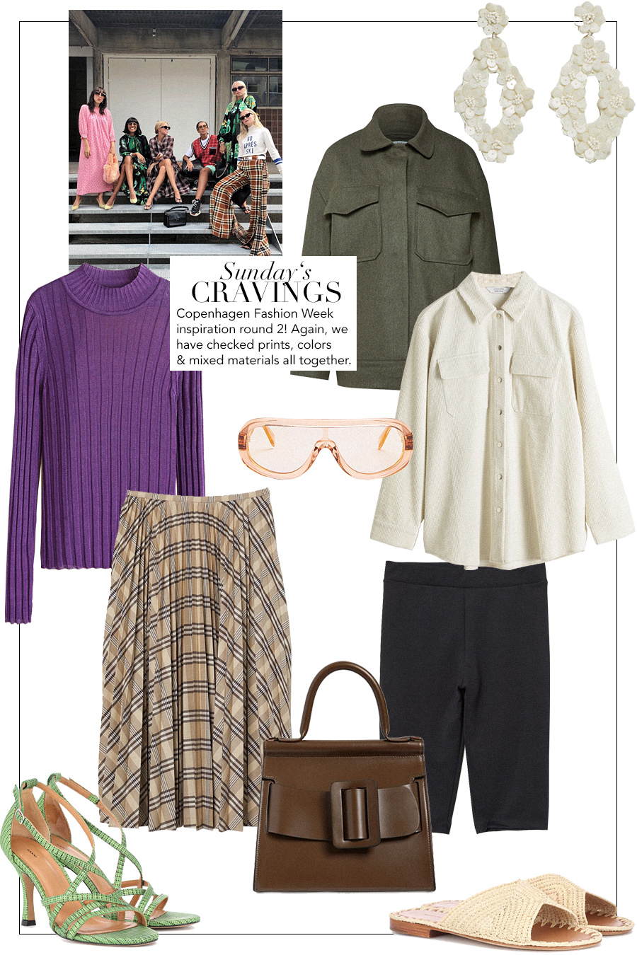 Sunday's Cravings: Céline Mask sunglasses, Boyy Karl 24 bag brown, Ganni Wilma green sandals, cycling shorts, Violet longsleeve, Green jacket, Sequin earrings, White Corduroy blouse, Carrie Forbes Raffia sandals
