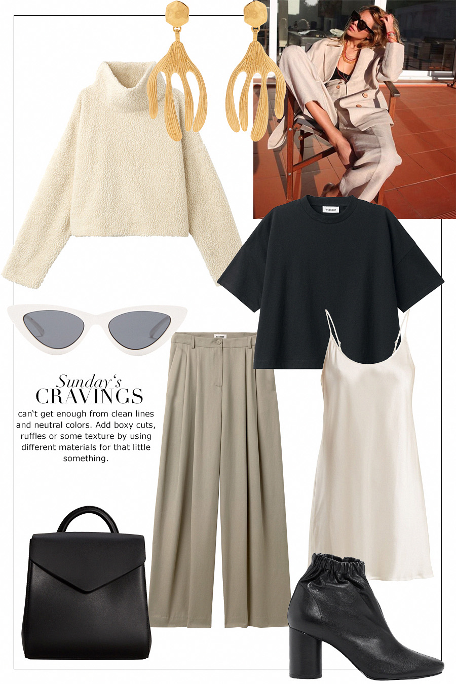 Teddy sweater, Gold-plated earrings, Boxy t-shirt, Cat-eye sunglasses, Wide pants, Satin slip dress, Backpack, Elastic leather boots
