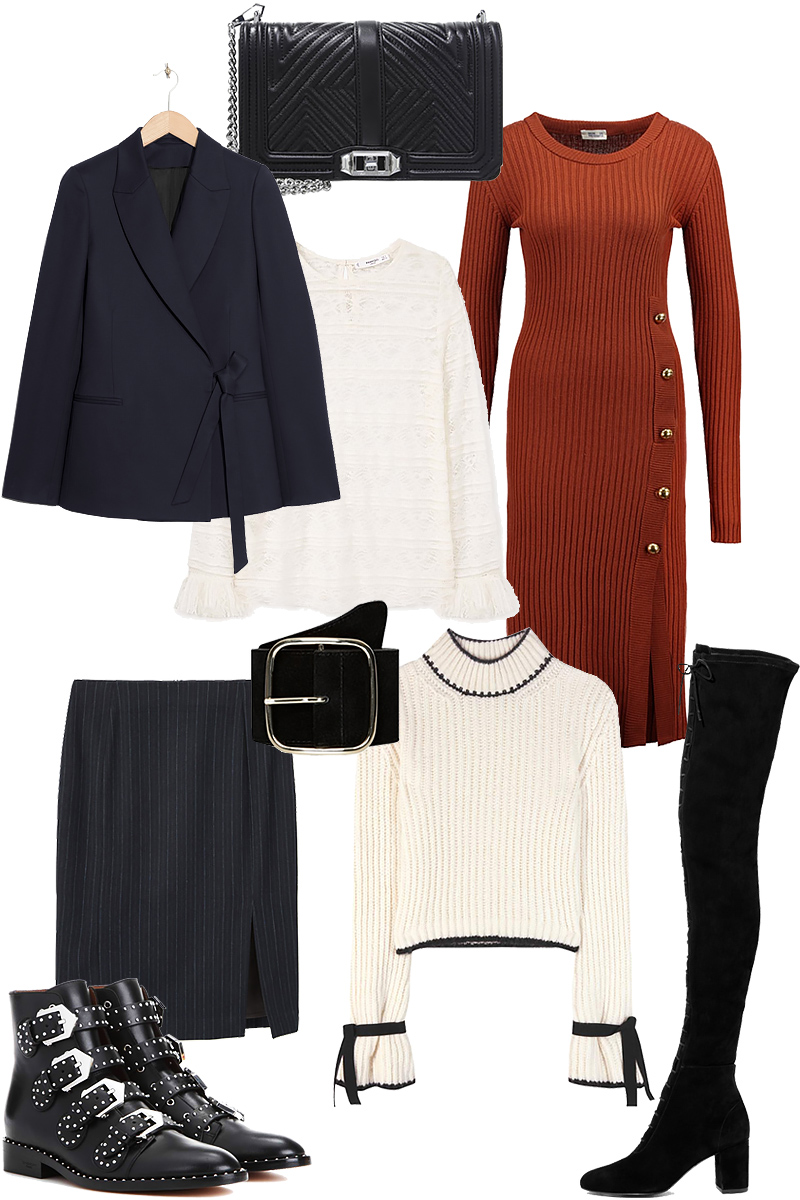 Sunday's Cravings: Givenchy Prue Boots, Rebecca Minkoff Bag, Wrap Blazer, Baum und Pferdgarten Knit dress, Lace shirt, Belt, Pinstripe skirt, J.W. Anderson Wool sweater, Over the knee lace-up boots