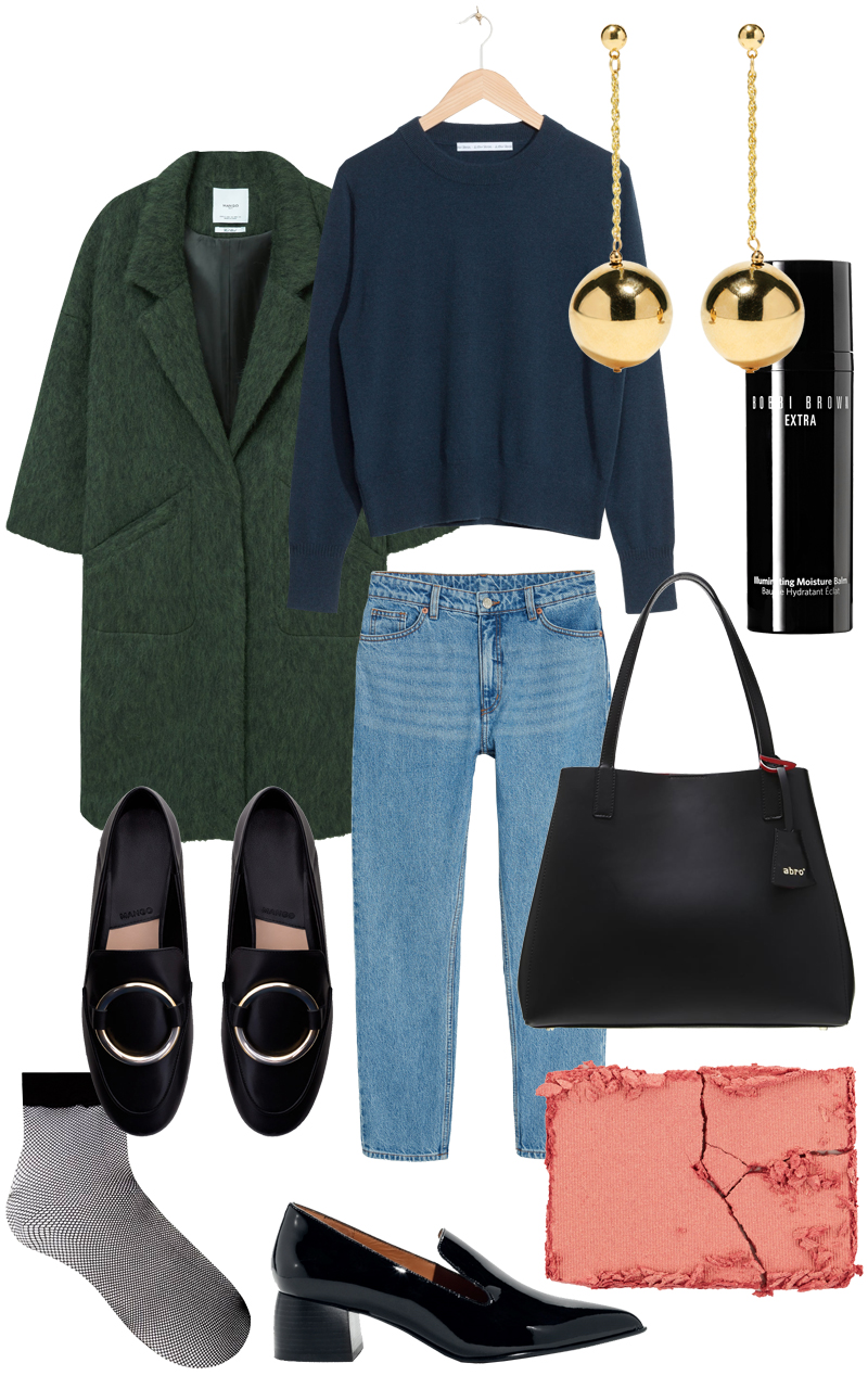 Sunday's Cravings: Fall Uniform. A look with mom jeans, jumper, loafers and statement earrings.