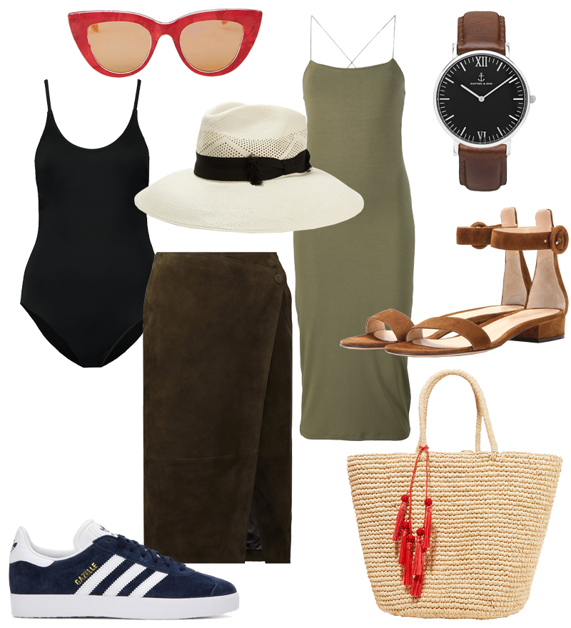 Hot Summer Day. Hot summer days. Sunglasses, Bathing suit, Leather skirt, Straw hat, Fitted dress, Watch, Suede sandals, Adidas Originals Gazelle sneakers, Straw tote