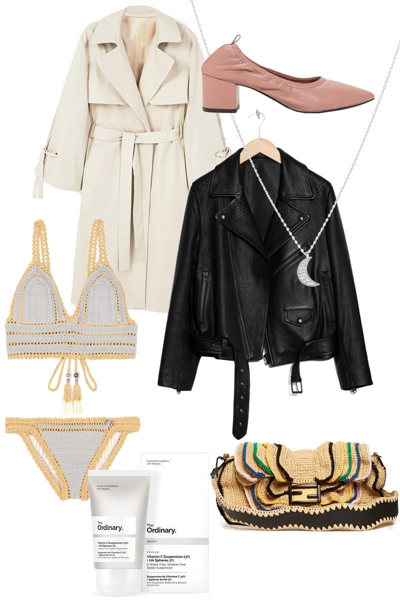 The Ordinary Vitamin C Serum, Trench coat, Ballerina Pumps, She Made Me Crochet bikini, Leather jacket, Fendi Baguette Wave bag