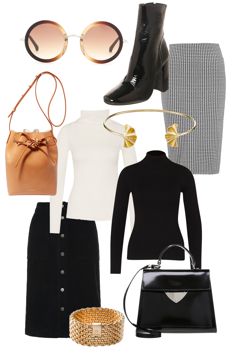 Sunday's Cravings: - The Row Sunglasses, Buffalo patent boots, Anna Field hound's tooth skirt, Mansur Gavriel mini bucket bag, French Connection high neck longsleever, Superdry button down skirt, Whistles bracelet, Coccinelle patent bag, Jasmina Jovy mesh ring.