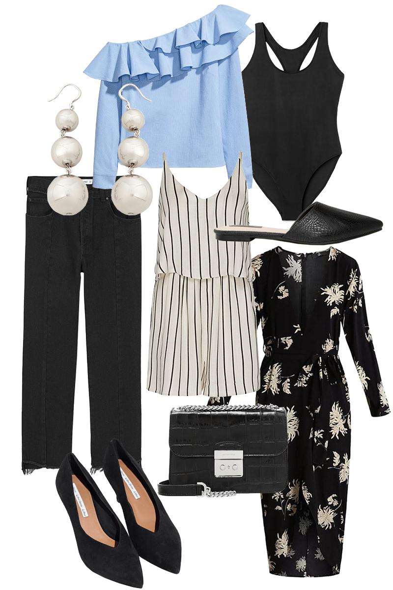 One-shoulder Blouse, Slipper, Swimsuit, Denim jeans, Playsuit, Statement Earrings, Flower print dress, Pumps, Michael Kors Cross-body Bag
