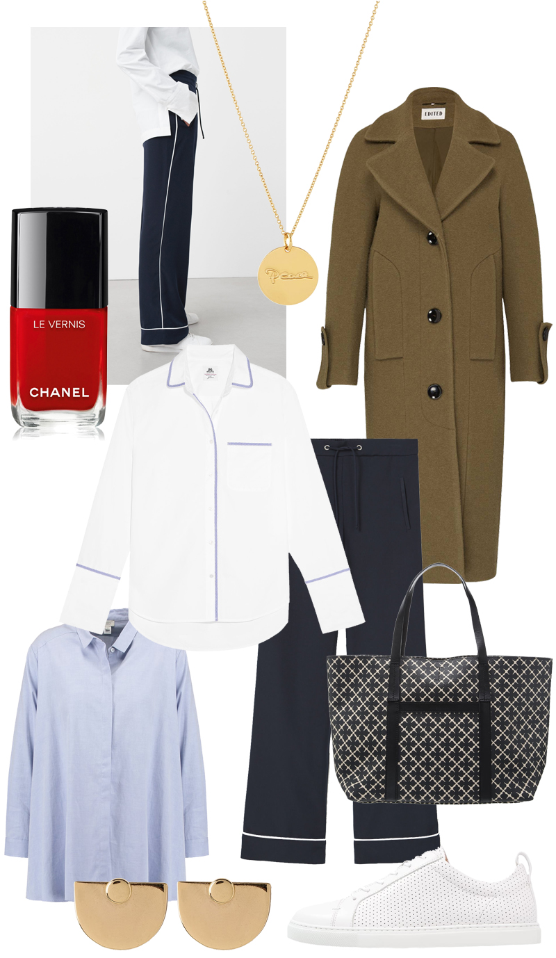Sunday's Cravings: Pyjama Style. Malaika Raiss Gold pendant necklace, Khaki coat, J.Crew Blouse pyjama look, Ample pants, Oversized Shirt, by Marlene Birger Shopper, Gold earrings, Sneakers