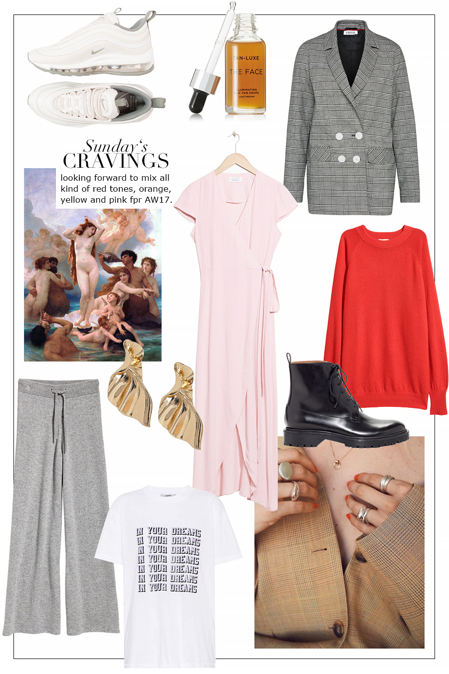 Air Max 97 sneakers – Nike. Face Illuminating Self-Tan Drops – Tan-Luxe. Checked blazer – Edited the Label. Wrap dress – & other Stories. Cashmere jumper – H&M. Gold earrings – Asos. Lace-up leather boots – & Other Stories. Cashmere pants – H&M. Printed t-shirt – Ganni.