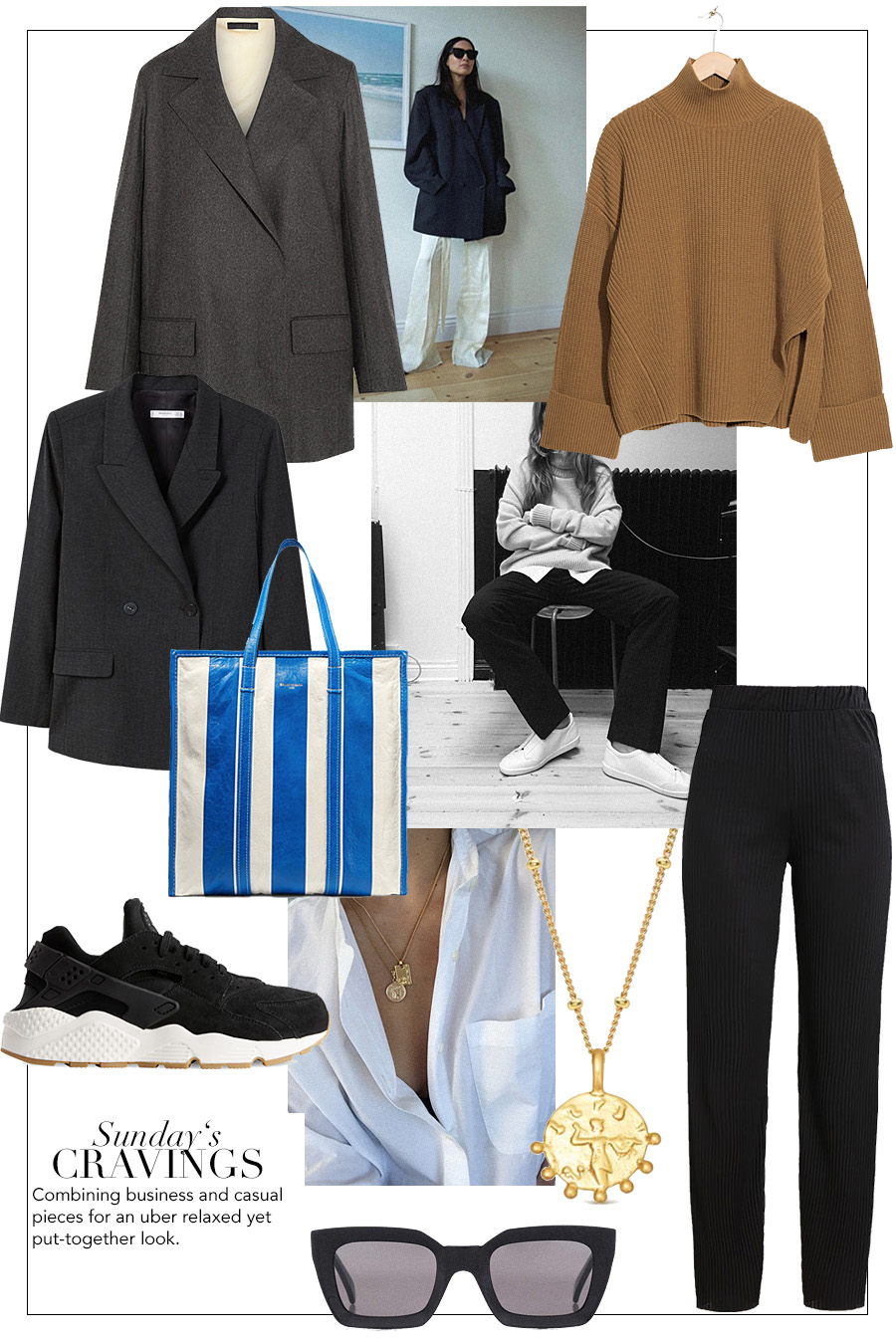 Blazer – Mango. Oversized Blazer – The Row. Knit jumper – & Other Stories. Bazar Leather Tote – Balenciaga. Huarache Run SD Sneaker – Nike. Coin Necklace – Missoma. Pants – Vila. Kate Sunglasses – Céline