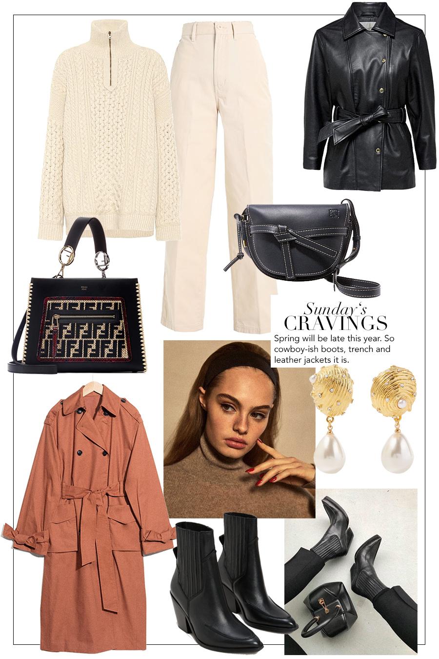Loewe Gate bag, Fendi Runaway bag, Cowboy boots, Trenchcoat, Chloé Sweater, trousers, leather jacket, Earrings
