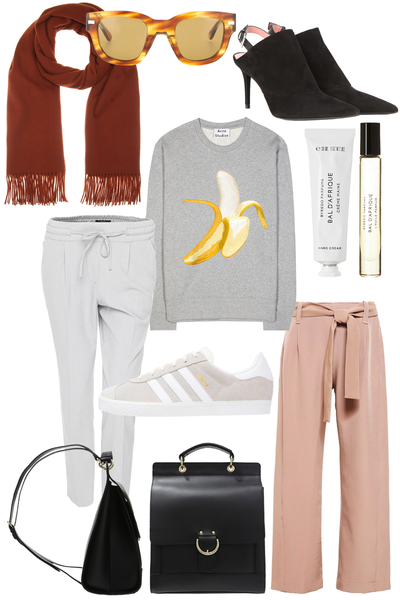 Sunday's Cravings: Transitioning. Acne Studios Jumper, Mules, Canada Scarf and Sunglasses, Byredo Parfum and Hand cream, Adidas Gazelle Sneakers, mint&berry backpack, Opus Joggpants, House of Sunny dusty pink pants
