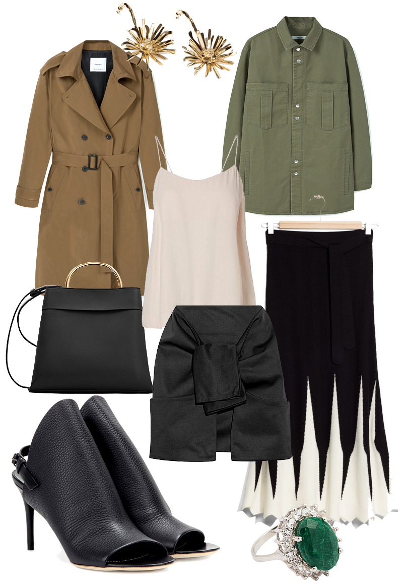 Sunday's Cravings: Trenchsition. Trenchcoat, Flower bomb earrings, Top, Khaki jacket,Bag with ring handle, Structured mini skirt, Wool knit skirt, Glove leather sandals, Ring