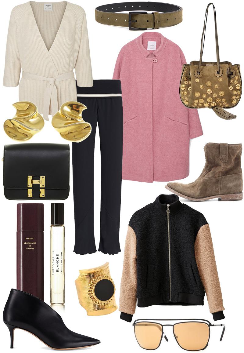 Craving: Chloe Inez Bag, Pink wool coat, flared pants, Isabel Marant Boots, Ganni Bomber Jacket, Byredo Perfume