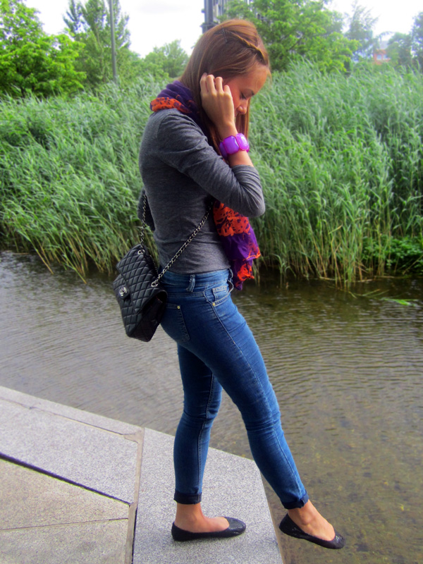 outfits outfit lila und orange