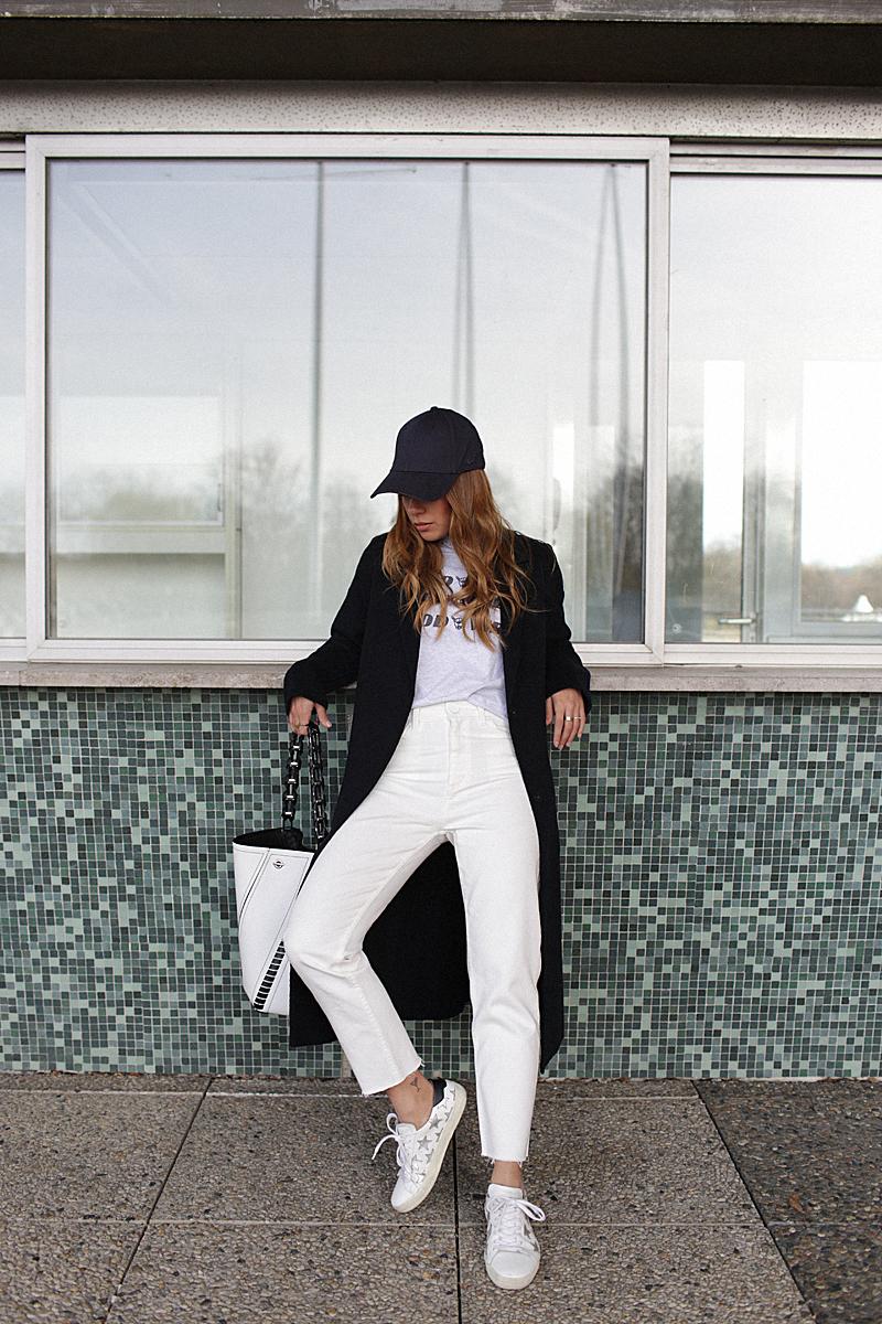 "3b5e1c04374d wearingCap – New Era. Coat – Zara (similar). Shirt – Brandy Melville. Mom  jeans – Sandro (similar). Sneakers – Saint Laurent. ""Hex"" bag – Proenza  Schouler."