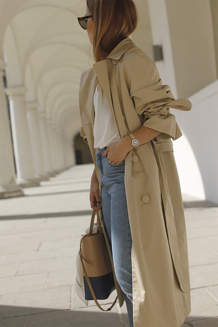 Outfit Oversized Trench Coat With Rolled Up Sleeves